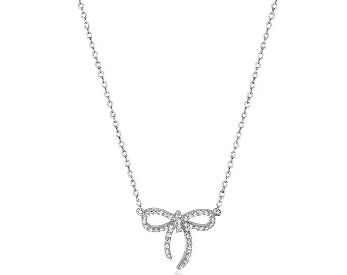 """Sterling Silver Cz Bow Pendant on 17"""" Belcher Chain Necklace"""
