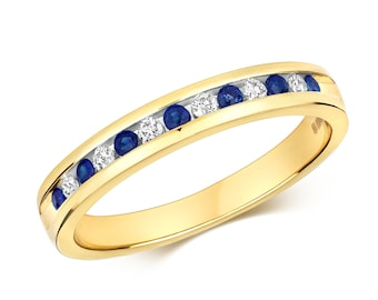 9ct Yellow Gold 2mm Channel Set 0.12ct Diamond & Blue Sapphire Half Eternity Ring Hallmarked - Real 9K Gold