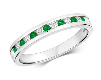 9ct White Gold 2mm Channel Set 0.13ct Diamond & Emerald Half Eternity Ring Hallmarked - Real 9K Gold