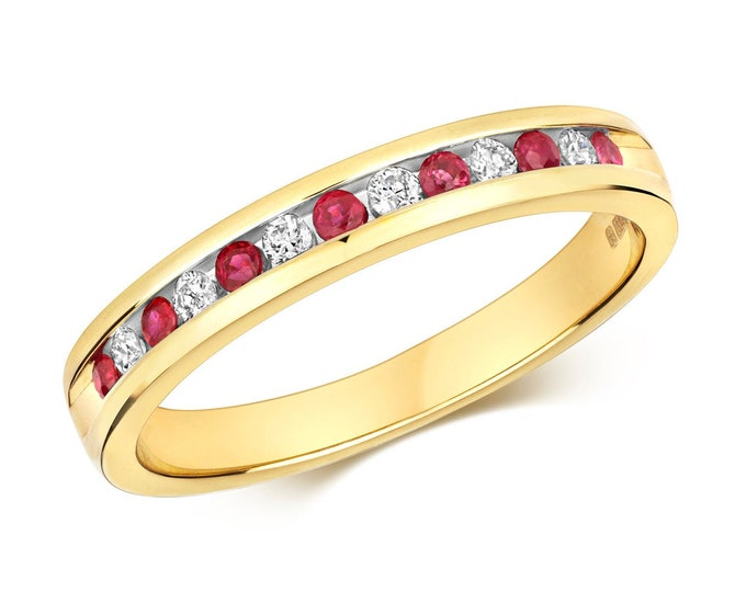 9ct Yellow Gold 2mm Channel Set 0.12ct Diamond & Ruby Half Eternity Ring Hallmarked