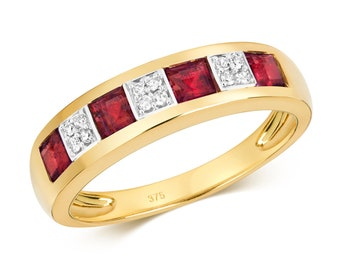 9ct Gold 4mm Channel Set Princess Cut Ruby & Diamond Eternity Ring Hallmarked - Real 9K Gold