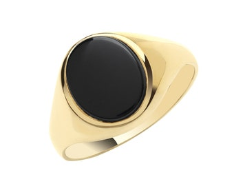 Men's 9ct Yellow Gold 12x10mm Oval Black Onyx Signet Ring With Plain Sides - Real 9K Gold