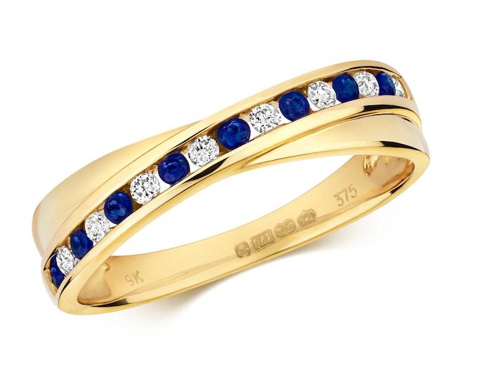 9ct Yellow Gold 4mm Crossover Channel Set 0.12ct Diamond & Blue Sapphire Half Eternity Ring Hallmarked