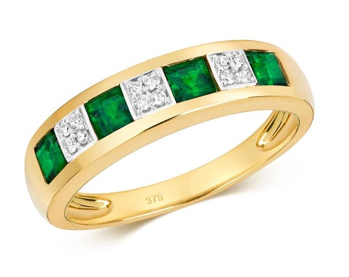 9ct Gold 4mm Channel Set Princess Cut Emerald & Diamond Eternity Ring Hallmarked