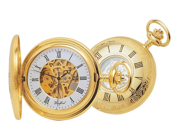 Gold Plated 17 Jewel Mechanical Half Hunter Pocket Watch - Personalised Engraved Message