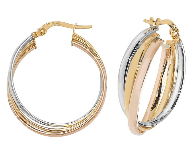 9ct Tri Colour Gold 20mm Russian Wedding Hoop Earrings Hallmarked - Real 9K Gold