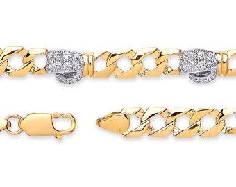 "Baby Boxing Glove Cz Curb Link Bracelet 9ct Yellow Gold 6"" Bracelet Hallmarked"
