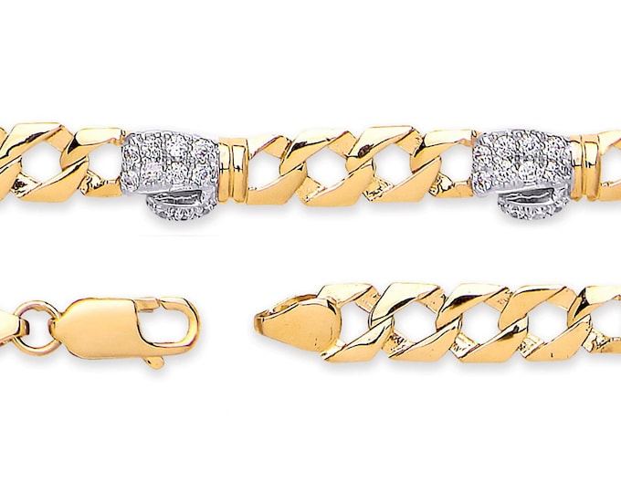 "Baby Boxing Glove Cz Curb Link Bracelet 9ct Yellow Gold 6"" Bracelet Hallmarked"