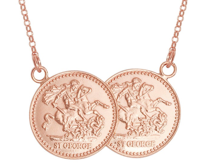 "Rose Gold on Sterling Silver St George Double Half Sovereign Coin 17"" Necklace"