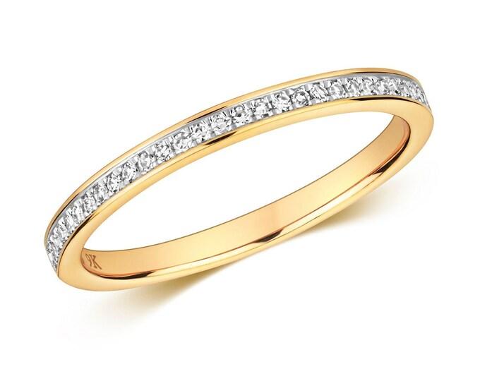 9ct Yellow Gold 2mm Slight Court Profile 0.11ct Grain Set Diamond Eternity Ring Hallmarked