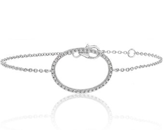 "925 Sterling Silver Open Oval Halo Cz 7"" Bracelet Rhodium Plated"