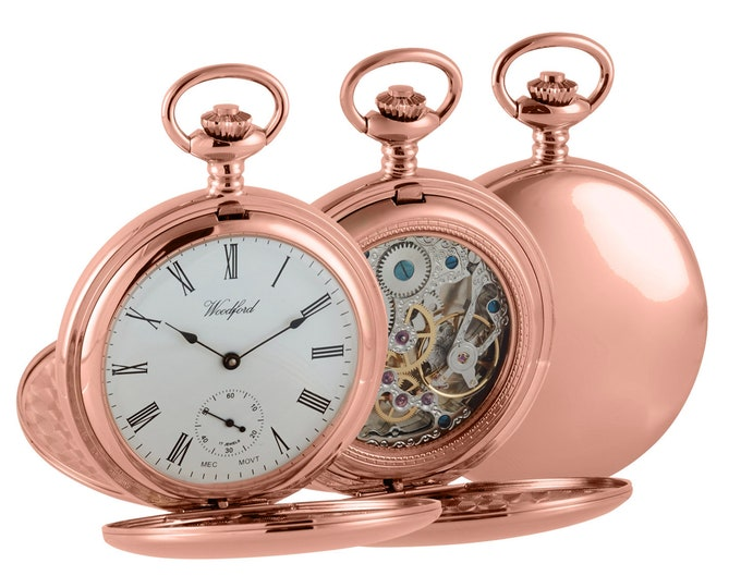 Rose Gold Mechanical Full Dial Double Hunter Skeleton Back Pocket Watch - Engraved Message
