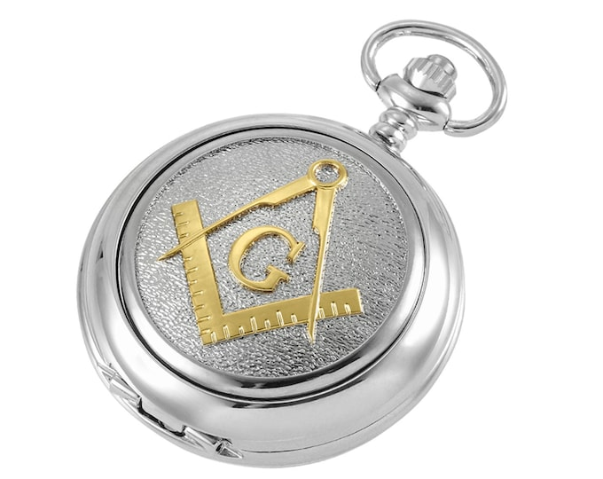 Masonic G Personalised Chrome & Pewter Pocket Watch - Customised Engraved Message