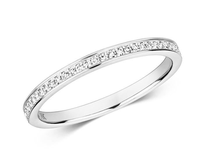 9ct White Gold 2mm Slight Court Profile 0.11ct Half Grain Set Diamond Eternity Ring Hallmarked