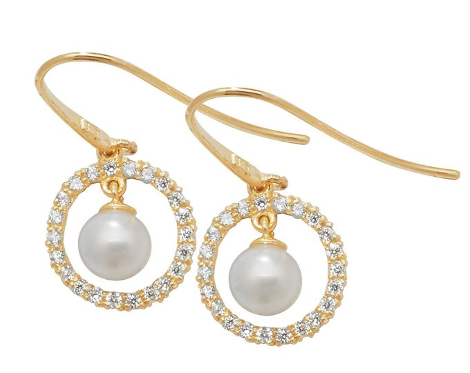 9ct Yellow Gold 3.5mm Cultured Pearl & Cz Circle of Life Hook Drop Earrings