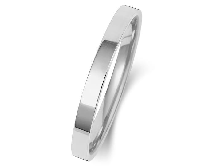 Platinum Plain Flat Court Wedding Ring Hallmarked Widths 2mm-4mm Sizes J-Z
