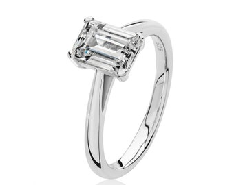 Rhodium Plated 925 Sterling Silver 4 Claw Set 8x6mm Emerald Cut Cz Solitaire Engagement Ring