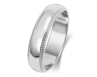 9ct White Gold D-Shape Millgrain Edge Wedding Ring Hallmarked Widths 3mm-6mm Sizes J-Z