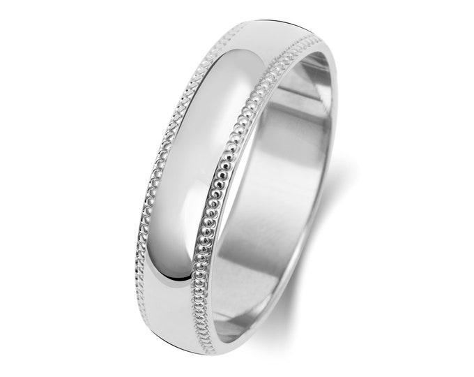 9ct White Gold D-Shape Millgrain Edge Wedding Ring Hallmarked Widths 3mm-6mm Sizes J-Z