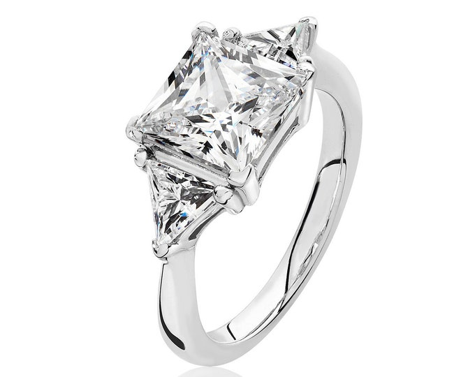 Rhodium Plated 925 Sterling Silver Claw Set Princess & Trillion Cut 3 Stone Cz Engagement Ring