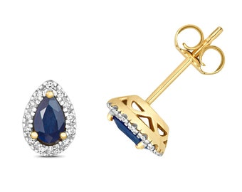 9ct Yellow Gold 5x3mm Pear Cut Blue Sapphire Stud Earrings 0.07ct Pave Diamond - Real 9K Gold