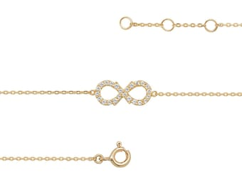 "Ladies 9ct Yellow Gold Cz Infinity Link 7.25"" Fine Lightweight Chain Bracelet - Real 9K Gold"