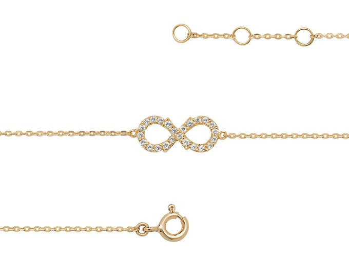 """Ladies 9ct Yellow Gold Cz Infinity Link 7.25"""" Fine Lightweight Chain Bracelet - Real 9K Gold"""