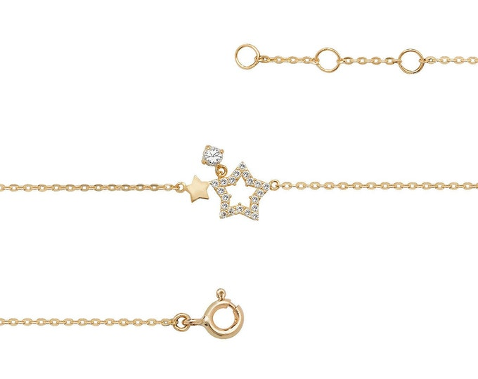 "Ladies 9ct Yellow Gold Cz Double Star 7.25"" Fine Lightweight Chain Bracelet"