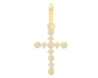 Solid 925 Sterling Silver Pendant /& Vermeil INRI Crucifix Charm 40mm x 20mm