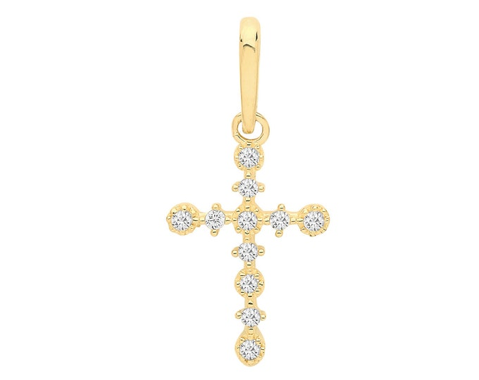 9ct Yellow Gold Small Cross Charm Pendant Claw Set With cz Stones