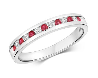 9ct White Gold 2mm Channel Set 0.12ct Diamond & Ruby Half Eternity Ring Hallmarked - Real 9K Gold