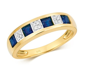 9ct Gold 4mm Channel Set Princess Cut Blue Sapphire & Diamond Eternity Ring Hallmarked - Real 9K Gold