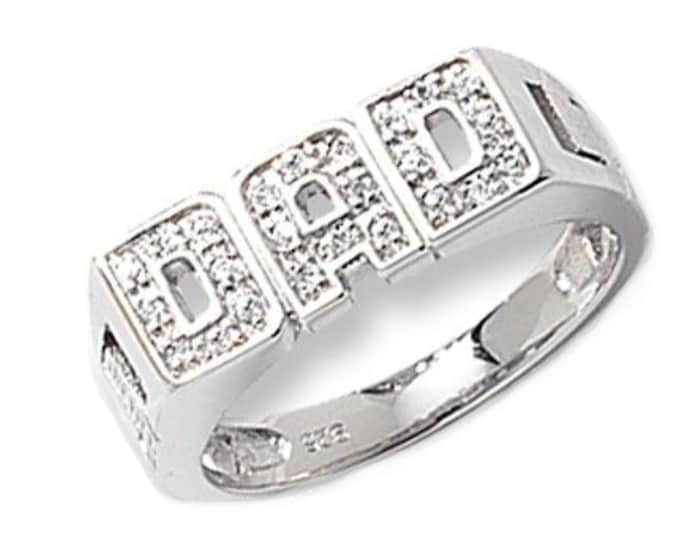 925 Sterling Silver DAD Ring Pave Set With Cz Stones & Curb Sides
