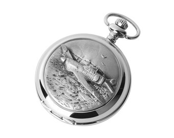 Spitfire Design Hunter Chrome & Pewter Pocket Watch - Personalised Engraved Message