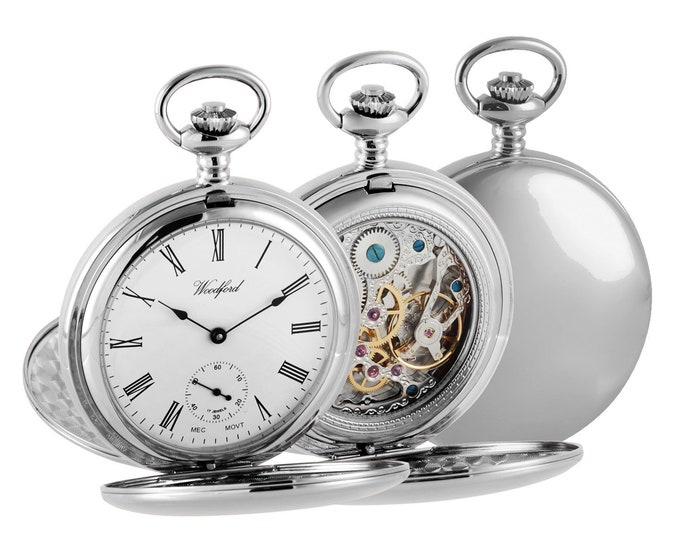 Chrome Mechanical Full Dial Double Hunter Skeleton Back Pocket Watch - Engraved Message