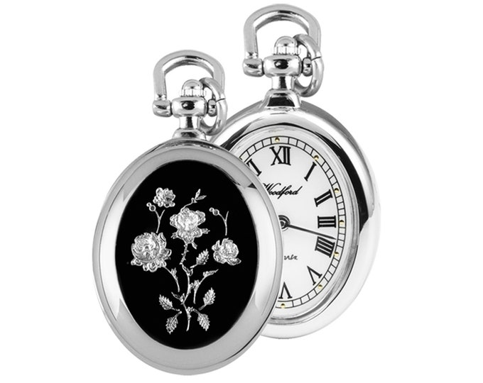 Ladies Chrome Plated Open Face Flower Pendant Oval  Shaped Watch