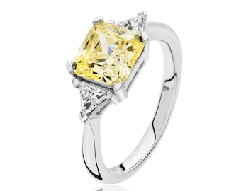 Rhodium Plated 925 Sterling Silver Claw Set Yellow Asscher & Trillion Cut 3 Stone Cz Engagement Ring