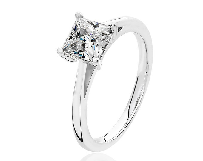 Rhodium Plated 925 Sterling Silver Claw Set 6mm Solitaire Princess Cz Engagement Ring
