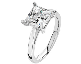 Rhodium Plated 925 Sterling Silver Claw Set 8mm Solitaire Princess Cz Engagement Ring