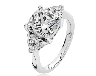 Rhodium Plated 925 Sterling Silver Claw Set Cushion & Heart Cut cz Engagement Ring