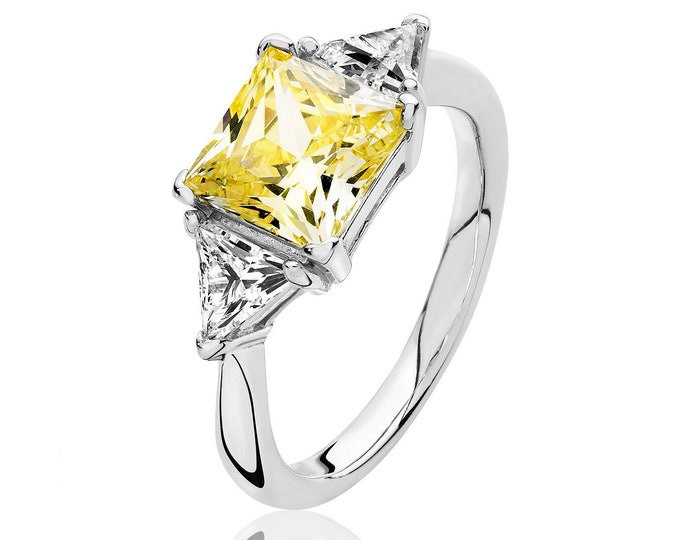 Rhodium Plated 925 Sterling Silver Claw Set Yellow Princess & Trillion Cut 3 Stone Cz Engagement Ring