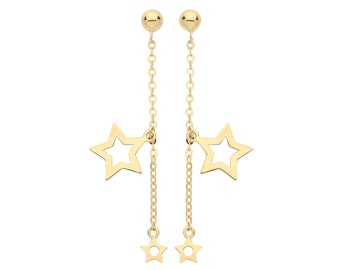 9ct Yellow Gold Cut Out Constellation Stars Chain 2.5cm Link Drop Earrings