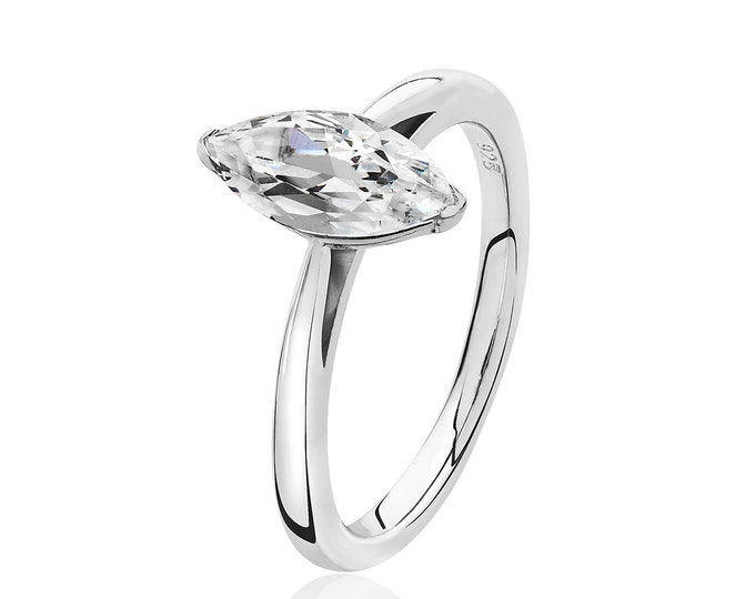 Rhodium Plated 925 Sterling Silver 10x5mm Solitaire Marquise Cz Engagement Ring