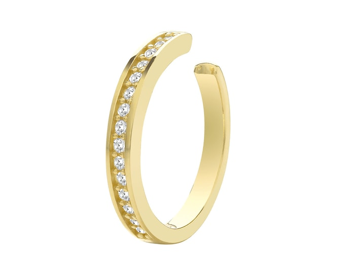 9ct Yellow Gold Channel Set Cz 8mm Cartilage Cuff Single Hoop Earring - Real 9K Gold