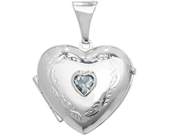 925 Sterling Silver Engraved Heart Shaped 2 Photo Locket With Centre Blue Topaz