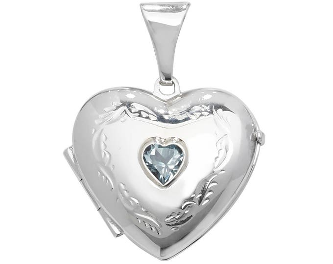 Sterling Silver Engraved Heart Shaped 2 Photo Locket With Centre Blue Topaz