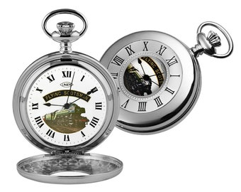 5dc9de34a Flying Scotsman Chrome Plated Half Hunter Pocket Watch - Personalised  Engraved Message