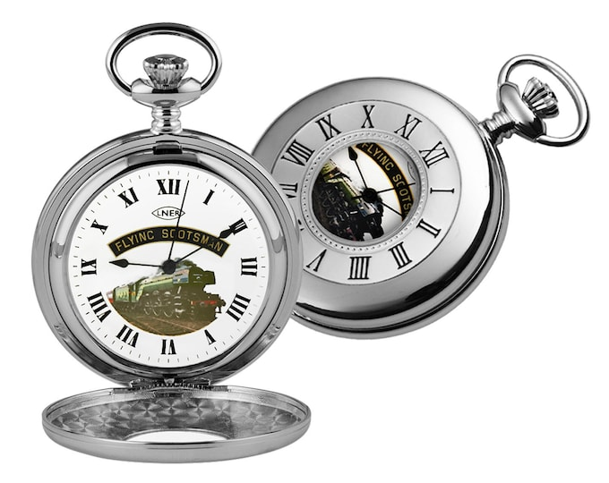 Flying Scotsman Chrome Plated Half Hunter Pocket Watch - Personalised Engraved Message