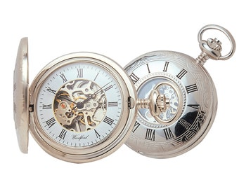 Chrome 17 Jewel Mechanical Half Hunter Pocket Watch - Personalised Engraved Message