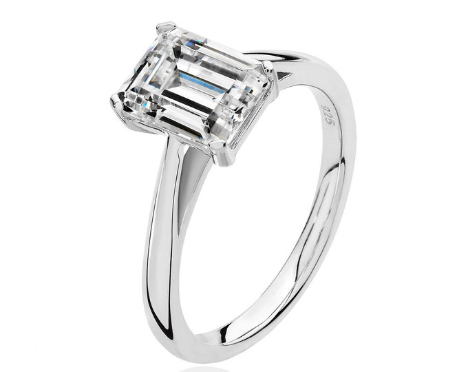 Rhodium Plated 925 Sterling Silver 4 Claw Set 9x7mm Emerald Cut Cz Solitaire Engagement Ring